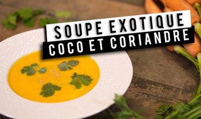 Soupe : carottes, lait de coco et coriandre