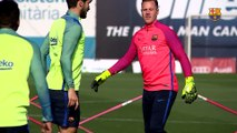 FC Barcelona training session: FC Barcelona trying to get a leg up on Leganés