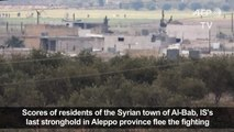 Residents of Syrian town flee fighting and seek refuge in Azaz