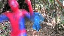 Spiderman Kisses Frog Frozen Elsa vs. Maleficent Prank Fun Superhero Kids In Real Life In