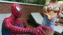 Spiderman Pool Party Pranks! Superheroes Fun Frozen Elsa Anna Venom Spiderman Swimming in Pool Cold