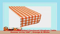 LA Linen Double Sided Checkered Gingham Table Runner 14 by 108  Orange  White afe6b549