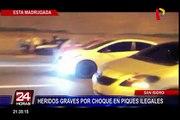 San Isidro: dos heridos graves tras choque por piques ilegales