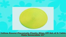 Yellow Round Placemats Plastic Wipe Off Set of 8 Table Mats Reversible 15 3bc85c64