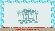 ROSENICE Wedding Table Numbers Holders Thicken Wood with Glitter Silver c511123a
