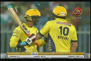 Last Over Of Trilling Match B w Peshawar Zalmi & Karachi Kings