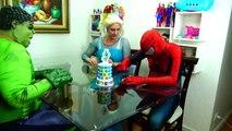 Spiderman Cooking Big Mac with Frozen Elsa & Hulk - Fun Superheroes Movie In Real Life-XY
