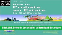 eBook Free How to Probate an Estate in California (How to Probate an Estate: California) Free