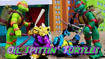 Teenage Mutant Ninja Turtles Spittin' Raphael Giant Robot Spills Oil on Triceraton and Slash Mutants-8eXU