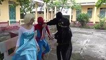 Gunfight between Three Spidey Frozen Elsa vs spiderman Joker Fun Superheroes movie in real