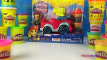 Playdoh Town Fire Truck or Fire Tank Engine - Mighty Machine with Fireman and PlayDoh Wate