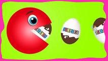 Aprender los Colores Con Pacman para los Niños, Kinder Joy Huevos Sorpresa Rojo Azul Rosa Naranja Amarillo Gr