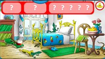 Animal games. Curious George playing Hide and Seek! Educational game.