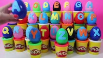 Learn ABC with Surprise Eggs PLAY-DOH ABC Spiderman Peppa Pig Superheroes Mickey Mouse