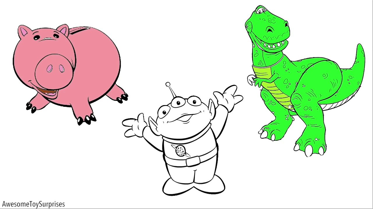 Kidschanel Toy Story 4 Rex Hamm Squeeze Toy Alien Coloring Page For Kids Toddlers Chil Video Dailymotion