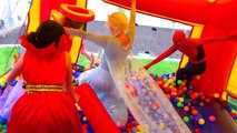#16 ● Super hero Compilation! Ariel fun Bounce house Water slide! Funny Marvel comics parody w- spiderman