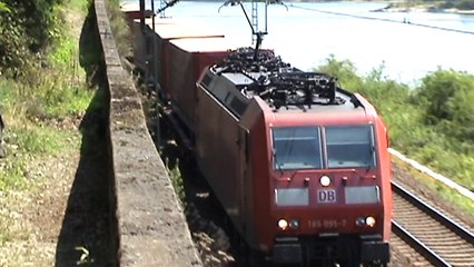 Züge und Schiffe bei Assmannshausen, SBB Cargo Re482, MRCE 189, ERS 189, 152, 185, 2x 428, 2x 427