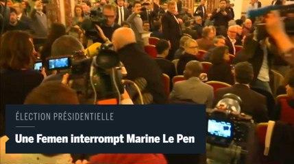Une Femen interrompt une conférence de presse de Marine Le Pen
