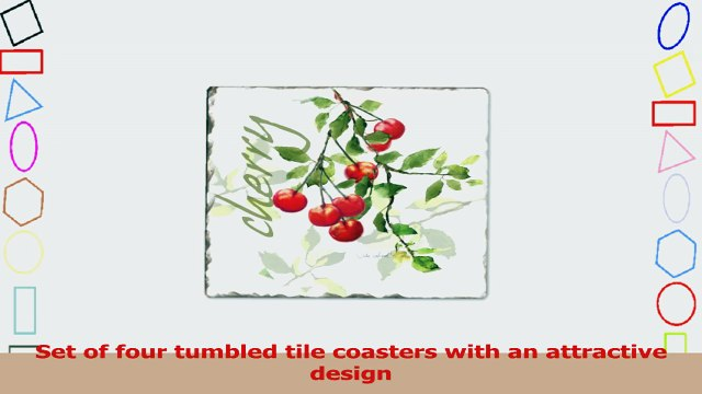 CounterArt Julies Cherries Tumbled Tile Coasters Set of 4 f0897750