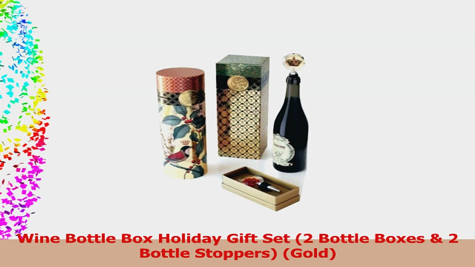 Wine Bottle Box Holiday Gift Set 2 Bottle Boxes  2 Bottle Stoppers Gold 80dad876