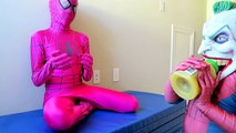 Joker Does GYMNASTICS?! - Spiderman vs Joker - Spiderman, Pink Spidergirl, Joker, Mini Joker