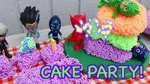 PJ MASKS BIRTHDAY PARTY CAKE! DIY Play Foam Cake For PJ Masks Gekko Romeo Catboy Owlette Luna Girl