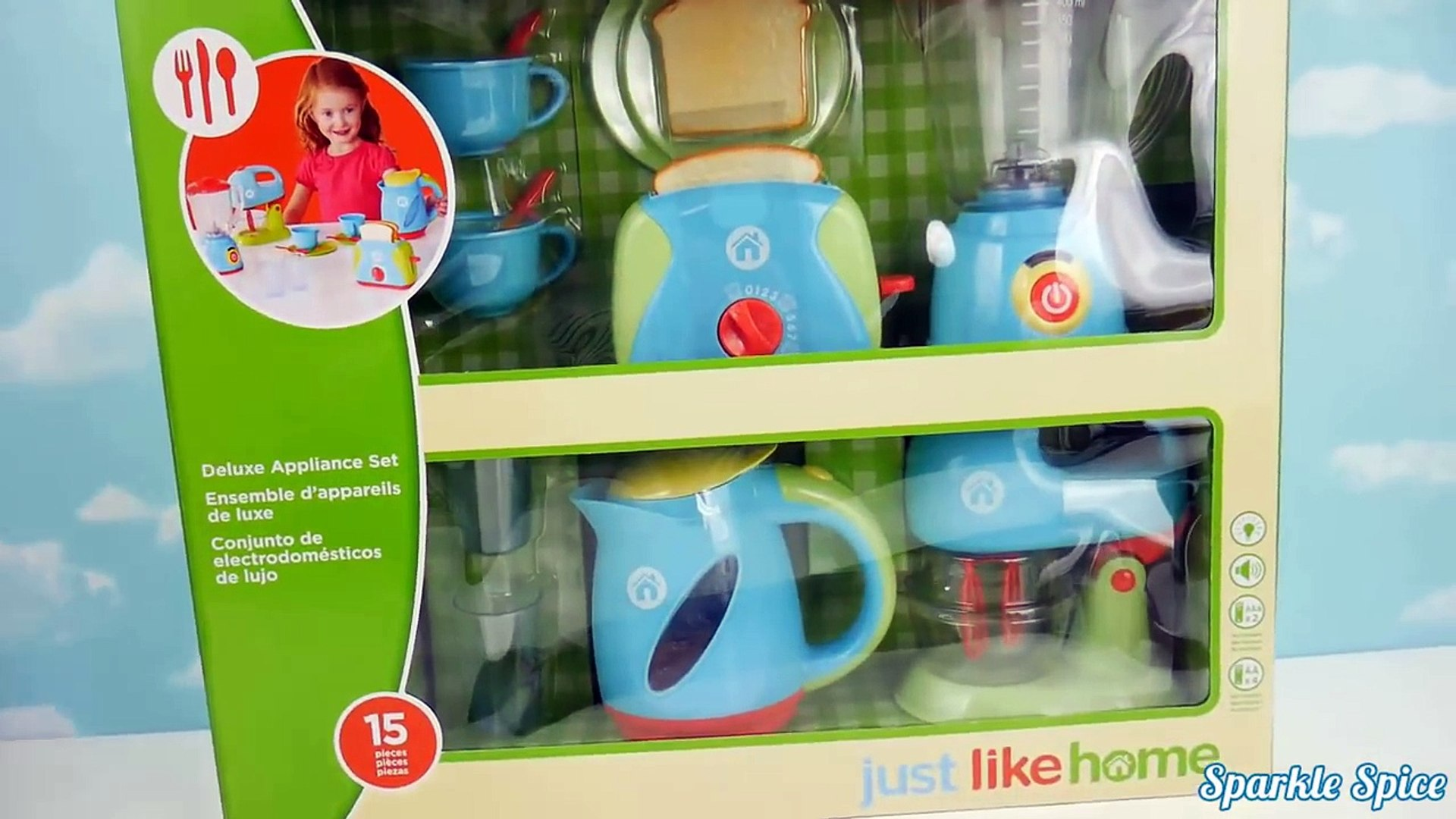 Just Like Home Kitchen Appliance Set Playset Blender Mixer Toaster Coffee  Kettle Cooking B