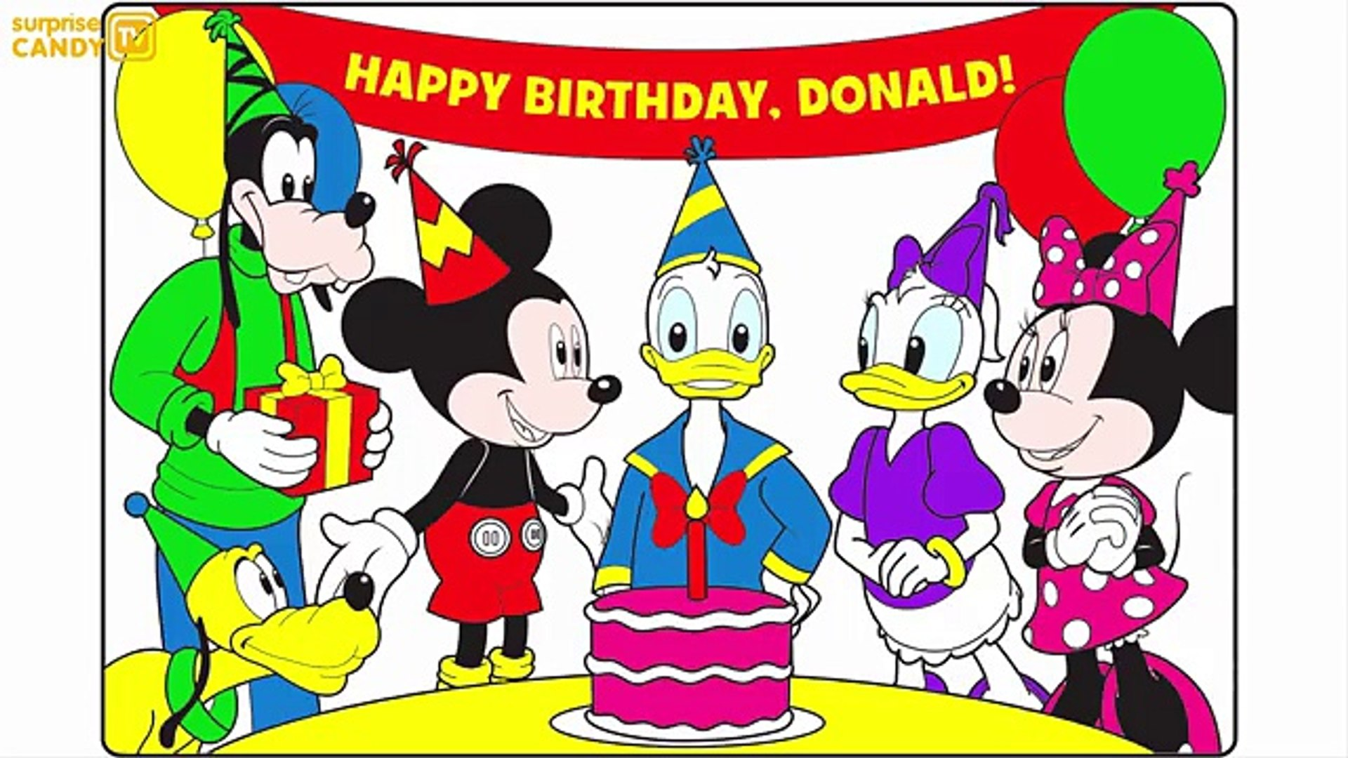 Mickey Mouse Clubhouse Happy Birthday Donald Learn Colors with Coloring  Pages For Kids Sub