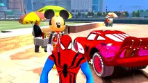 Spiderman & Hulk & Mickey Mouse plus Lightning McQueen Cars Colors Nursery Rhyme