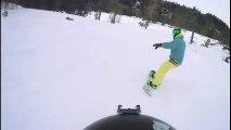 Un snowboard ne s'attendait pas à tomber sur ça pendant sa descente !