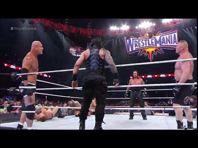 OMG Brock Lesnar vs Goldberg vs Undertaker vs Roman Reigns - Royal Rumble 2017 full fight Must Watch
