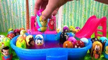 Disney Weebles Have a Huge Pool Party and Dive for Toy Suprises! Ariel, Mickey Mouse, Minnie Mouse