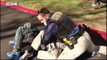 Arrestation muslcée d'un suspect armé par des policiers d'intervention aux USA