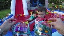 DISNEY CARS BATH TOYS HYDRO WHEELS + Giant Surprise Eggs Opening Pixar Lightning McQueen Kids Video!