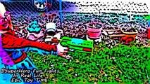 SuperHero Cartoons with Spiderman Batman Joker Frozen Elsa Spiderbaby with Super heros Battles IRL