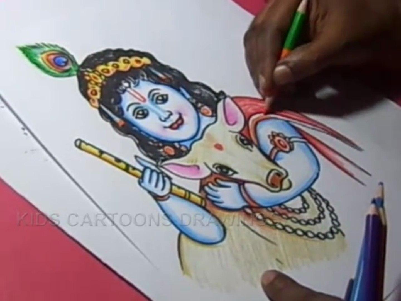 Baby Krishna With Cow Drawing Zona Ilmu 2