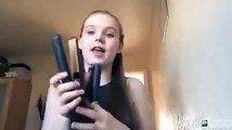 Girl reacts when she burns her ear with hair straightener Hair tutorial gone wrong - YouTube