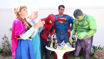 Frozen Elsa & Spiderman Soda Challenge - Coke & Mentos - Superman, Hulk! Funny Superhero Video IRL