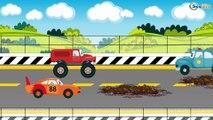 El Coche de Policía es Azul y Carros de Carreras - Carritos Para Niños - Dibujo animado de coches