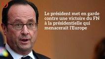 Présidentielle : François Hollande agite la « menace » d'une victoire de Marine Le Pen