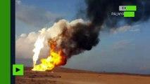 Des champs de gaz incendiés après le recul de Daesh sous Palmyre (IMAGES EXCLUSIVES)