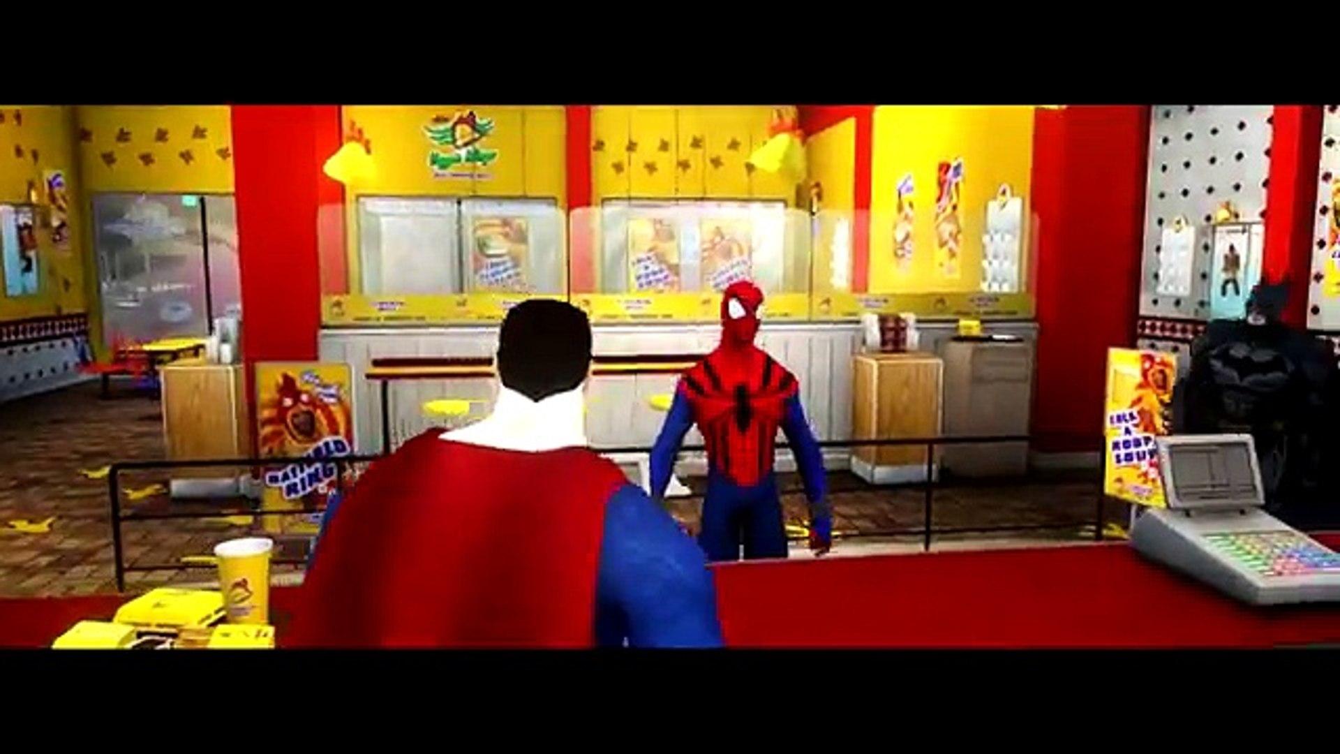 Spider Man, Batman & Superman Epic Race Disney Cars Lightning McQueen HD