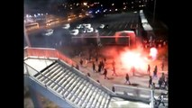 Saint Etienne - Lyon Magic Fans try to attack Lyon fans but riot police opposed them