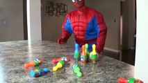 JOKER VS SPIDERMAN BOWLING CHALLENGE!! Superhero Fun