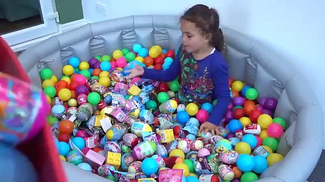 Surprise Eggs Giant Pool full of Kinder Surprise Toys Disney Eggs Mashems Fashems and Shopkins