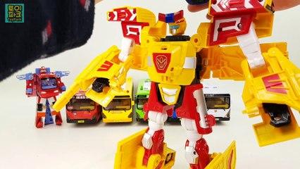 Public Bus color Combination Transfomation Robot Car Toys 헬로카봇 빨간버스 파란버스 초록버스 경찰버스 버스 대중교통 버스 장난감 동영상
