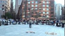 Make Music Boston 2015 2-6 Wharf Park Saturday Night from Greenway Gateway, Too Many Trombones