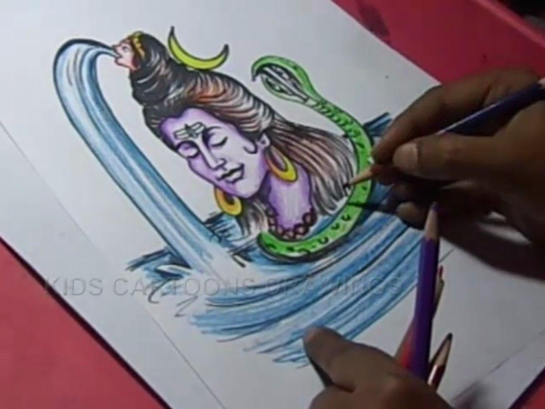 How to Draw Lord Shiva Goddess Ganga Color Drawing