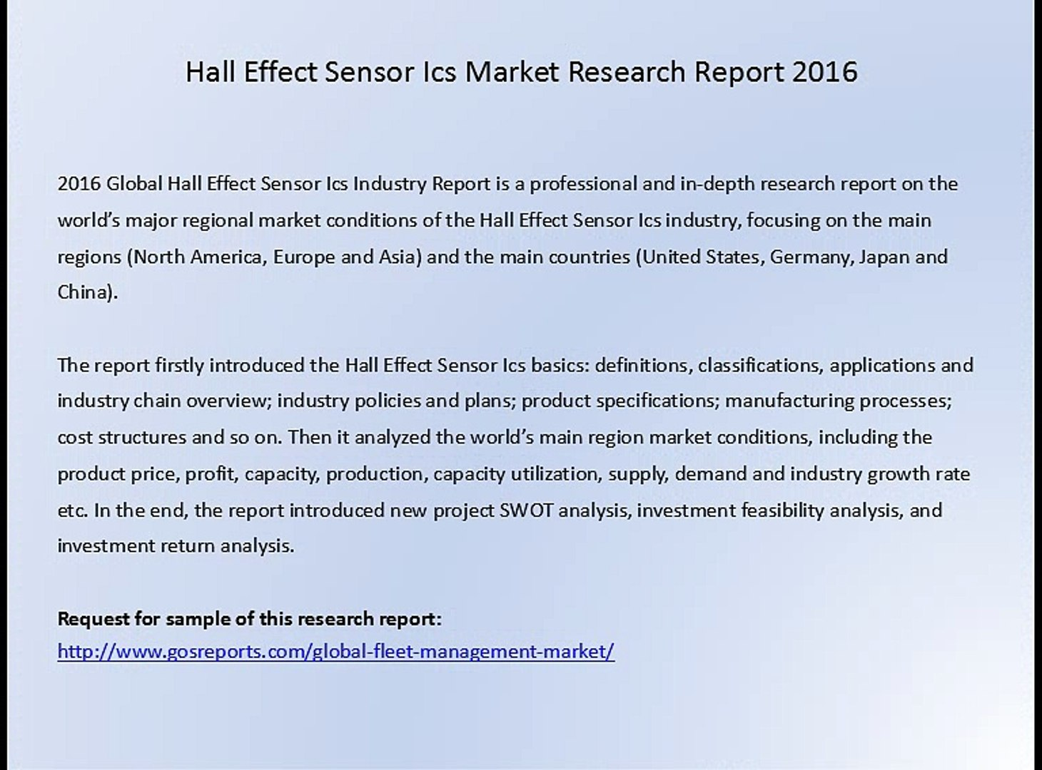 Hall Effect Sensor Ics Market Research Report 2016