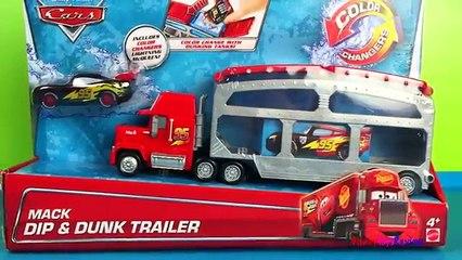 COLOR SHIFTER Disney Cars Mack Dip and Dunk Trailer Lightning McQueen DieCast